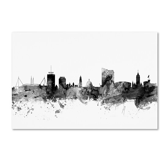 Buy Michael Tompsett Cardiff Wales Skyline B Amp W Canvas