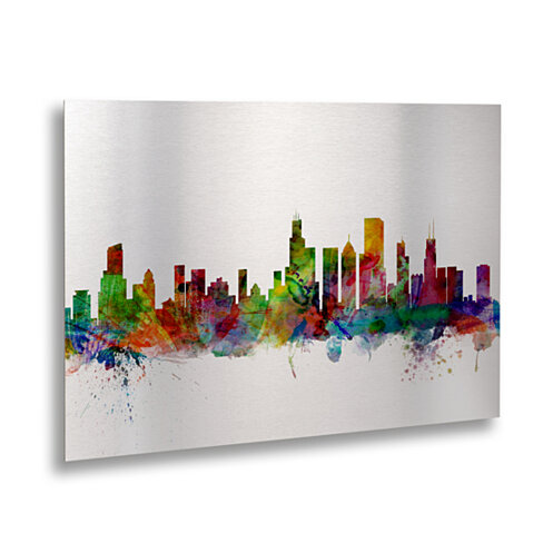 Michael Tompsett 'Chicago IL Skyline' Floating Brushed Aluminum Art 16 x 22