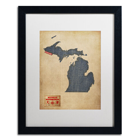 Michael Tompsett 'Michigan Map Denim Jeans Style' Black Wooden Framed Art 18 x 22 Inches