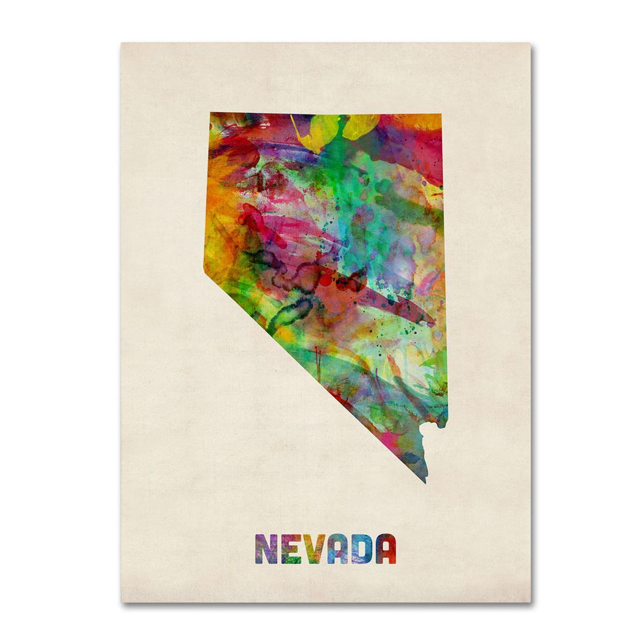 Michael Tompsett Nevada Map 14 X 19 Canvas Art