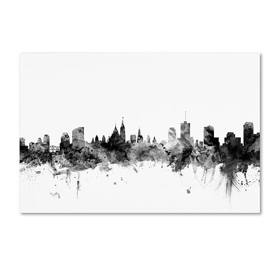 Buy Michael Tompsett 'Ottawa Canada Skyline B&W' Canvas