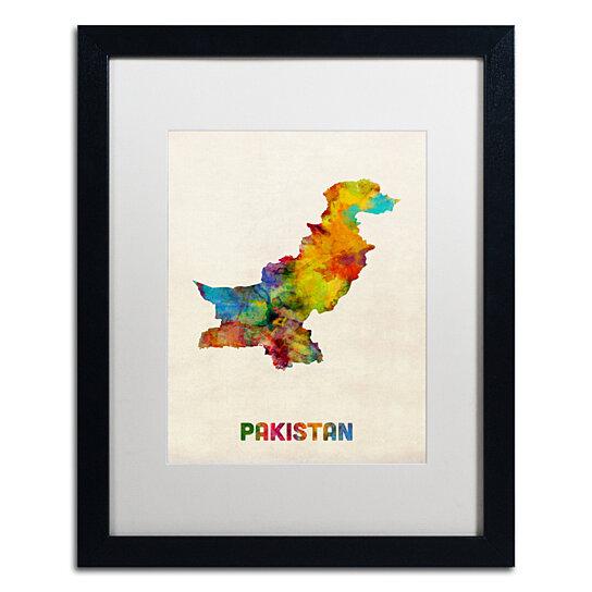 Buy Michael Tompsett 'Pakistan Watercolor Map' Black