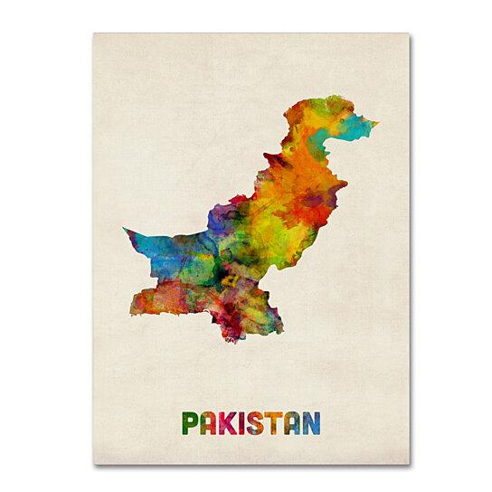 Buy Michael Tompsett 'Pakistan Watercolor Map' Canvas Wall