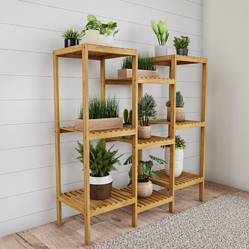 Multi-Level Plant Stand-Freestanding 9 Shelf Bamboo Storage Rack-Indoor/Outdoor Shelving Unit for Flowerpots, Planters, Shoes & Display