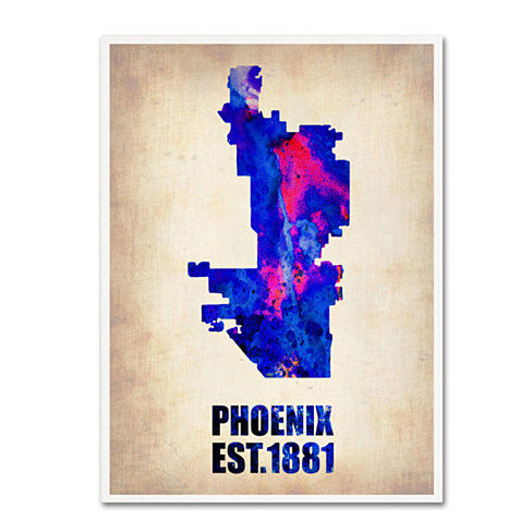 Naxart 'Phoenix Watercolor Map' Canvas Wall Art 35 x 47 Inches