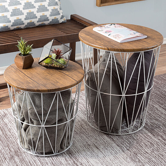 Buy Nesting End Tables Metal Basket Wooden Top 20 And 15