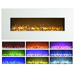 "Northwest 50"" White Electric Fireplace Color Changing Wall Mounted Remote Included"