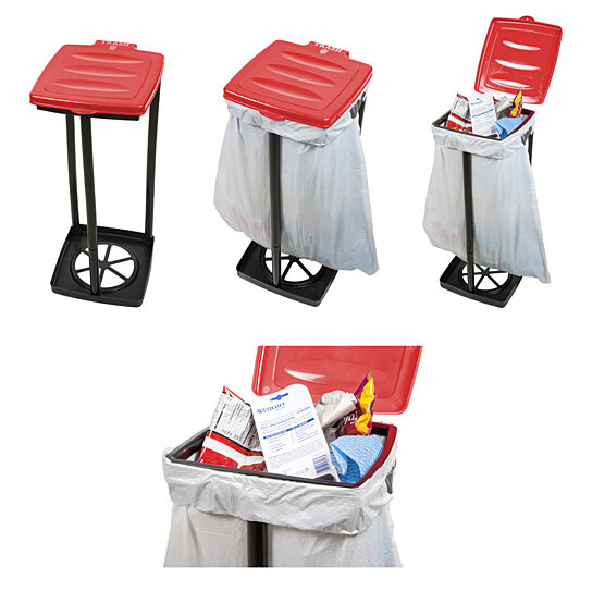 Portable Outdoor Garbage Trash Bag Holder Red Camping Picnics Holds 13 Gallon Bags