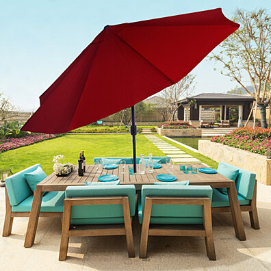 Pure Garden 10 Foot Aluminum Patio Umbrella with Auto Tilt - Red