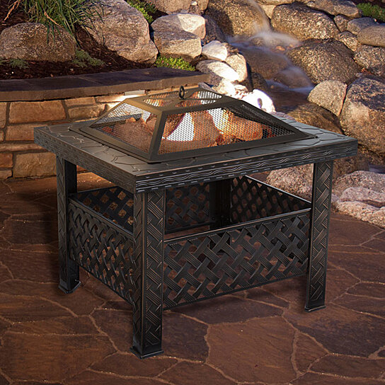 Pure Garden 26 Inch Square Woven Metal Fire Pit With Cover Bronze By Destination Home On Dot Bo