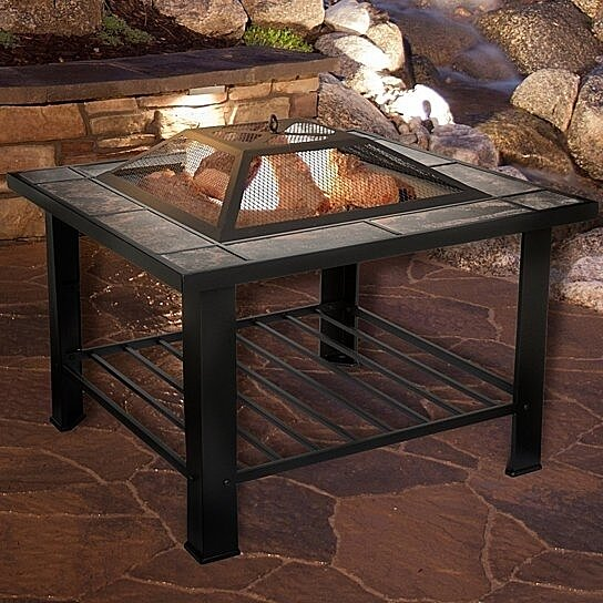 Buy Pure Garden Inch Square Fire Pit And Table With Cover Black - 30 inch fire pit table