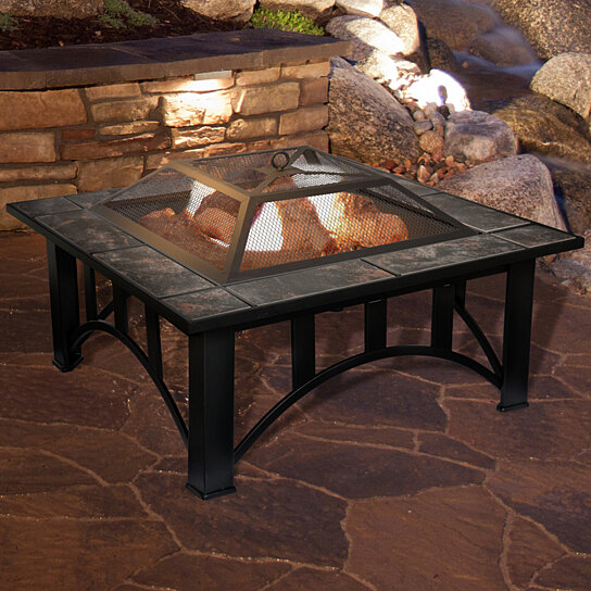 Buy Outdoor Square Decorative Tile Fire Pit With Cover