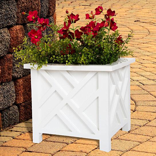 White Outdoor Patio 36 Deluxe Large Garden Planter Flower: Planter Container Box For Garden, Patio