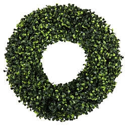 Boxwood Wreath, Artificial Wreath for the Front Door Home Decor, UV Resistant – 16.5 Inches