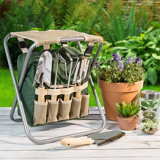 Buy Pure Garden Folding Garden Stool With Tool Bag And 5