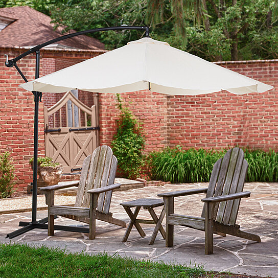 Buy Offset 10 Foot Aluminum Hanging Patio Umbrella   Tan With Base Bars By  Destination Home On OpenSky