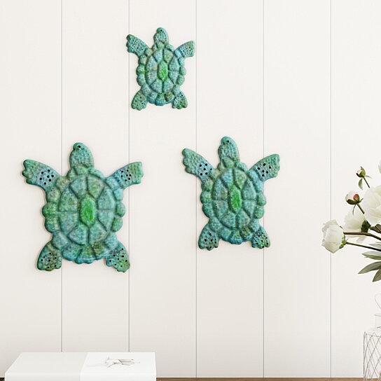 Sea Life Turtle Wave Rug2 Bath Mat: Buy Sea Turtle Wall Art- Nautical 3D Metal Hanging Décor