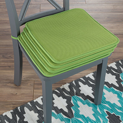 Set Of 4 Foam Chair Cushions Pads With Ties Indoor Outdoor Easy Clean 16 X  16 Green
