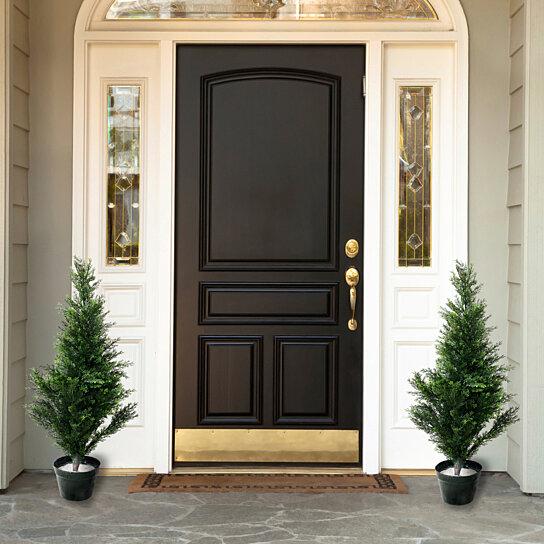 Buy Set Of Two 34 Pure Garden Topiary Cedar Artificial Trees In