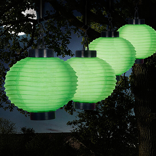 Solar Outdoor Lantern Hanging Nylon Rechargeable Led Chinese Lighting For Garden Patio Gazebo Or Backyard Green Set Of 4