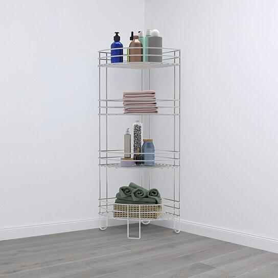 Standing Corner Shelf-4 Tier Wire Storage Rack for Living Room, Bathroom,  Bedroom, Kitchen or Office, Metal Floor Organizer