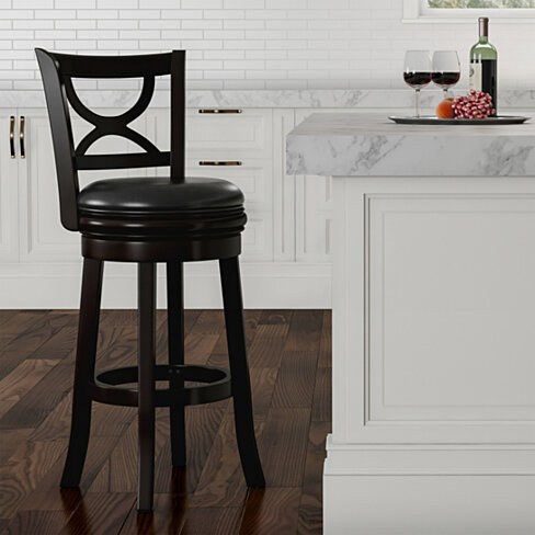 Swivel High Back Bar Stool- 29 Inch Counter or Bar Height- 360 Degree Rotating Seat, Faux Leather, Solid Dark Wood Finish