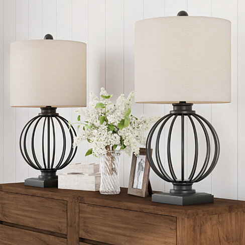 Table Lamps-Set of 2 Wrought Iron Open Cage Orb Lights, Bulbs and Linen Shades Included-Modern Rustic