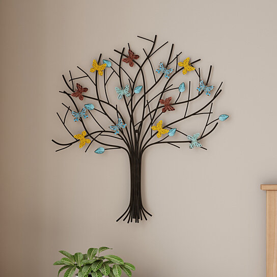 Buy Tree Of Life Butterfly Metal Wall Art Hand Painted