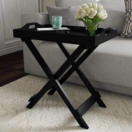 Tv Tray End Table Folding Wooden Decor Display And Home Accent With Removable