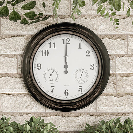 Wall Clock Thermometer Indoor Outdoor Decorative Large 18 Inch Waterproof Temperature Hygrometer Gauge