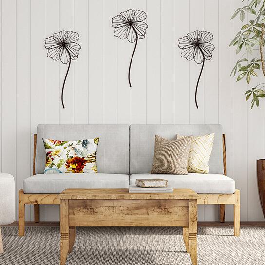 Buy Wall Decor-Rustic Metal Wire Stemmed Flower Sculpture