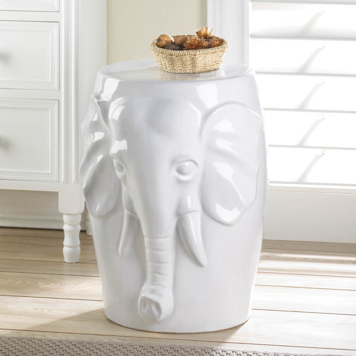 #10016509 Elephant Ceramic Decorative Stool