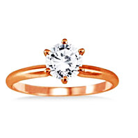 14k Solid Rose Gold 1 ct White Round simulated Diamond VS1 Engagement Ring