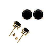 14K Yellow Gold 4ct Round Black Simulated Diamond VS1 Earrings