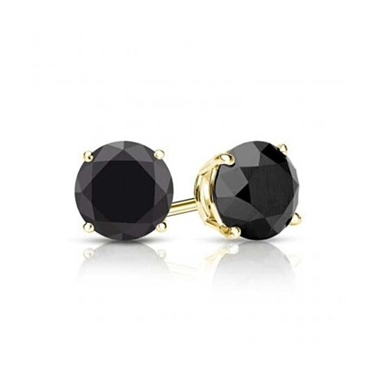 Buy 14K Yellow Gold Genuine Round Black Diamond Earrings 1 4 CT Sl1 by diamon