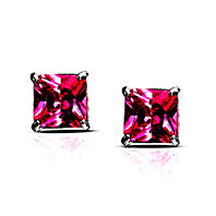 Sterling Silver Princess Cut Pink Imitation Diamond VS1 Earrings