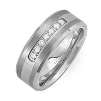 Tungsten and Titanium 1 Ct White Round Simulated Diamond Band