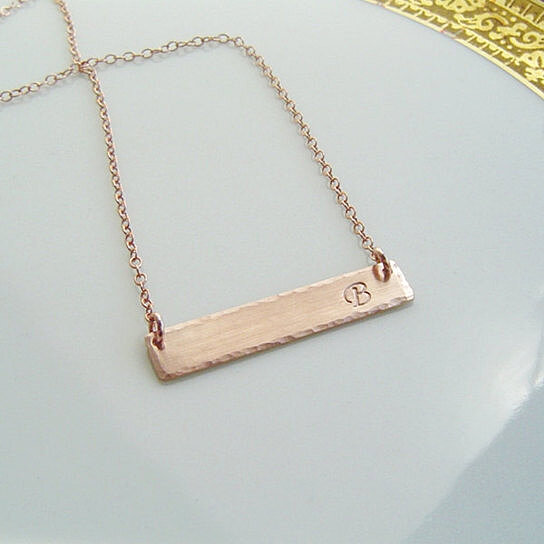 Customized Rose Gold Bar Necklace Initial 14k Fill