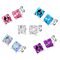 Diane Lo'ren 18KT White Gold Plated 8mm Gemstone Crystal Princess Cut Cubic Zirconia Cartilage Stud Earrings Set For Women