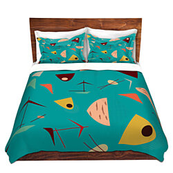 DiaNoche Microfiber Duvet Covers By Nika Martinez - Mid Century Hero Blue