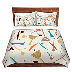 DiaNoche Microfiber Duvet Covers By Nika Martinez - Mid Century Hero Cream