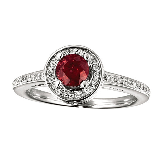 buy 14k white gold ruby and circle ring