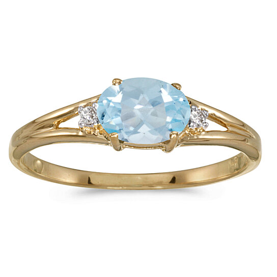 buy 14k yellow gold oval aquamarine and diamond ring. Black Bedroom Furniture Sets. Home Design Ideas
