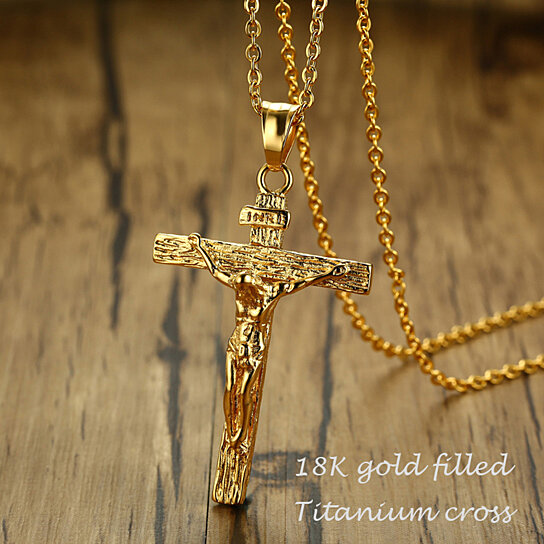 Buy 18k gold filled jesus cross pendant necklace for men by buy 18k gold filled jesus cross pendant necklace for men by dlhjewelry on opensky aloadofball Gallery