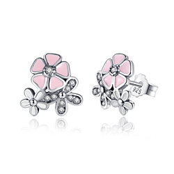 925 Sterling Silver Poetic Daisy Cherry Blossom Studs Earring Clear CZ
