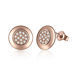 925 Sterling Silver Round Stud Earrings Rose Gold Plated CZ