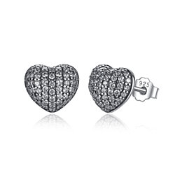 In My Heart Sparkling Studs Earrings 925 Sterling Silver Clear Cz Antique Color