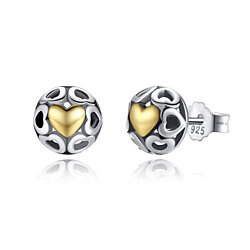 One True Love 925 Sterling Silver Stud Earrings Two-Tone Ball Yellow Gold Plated