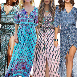11c5712fdf V-Neck Button up Split Beach Maxi Dresses · Women's Fashion Spring 3/4  Sleeve Classic Rose Maxi Dresses · Women's Fashion Boho Long Maxi Dress  Sleeveless ...