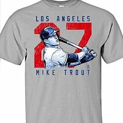Los Angeles Angels MIKE TROUT #27 MLBPA Rough Cut Men's Crew Neck Tee Shirt